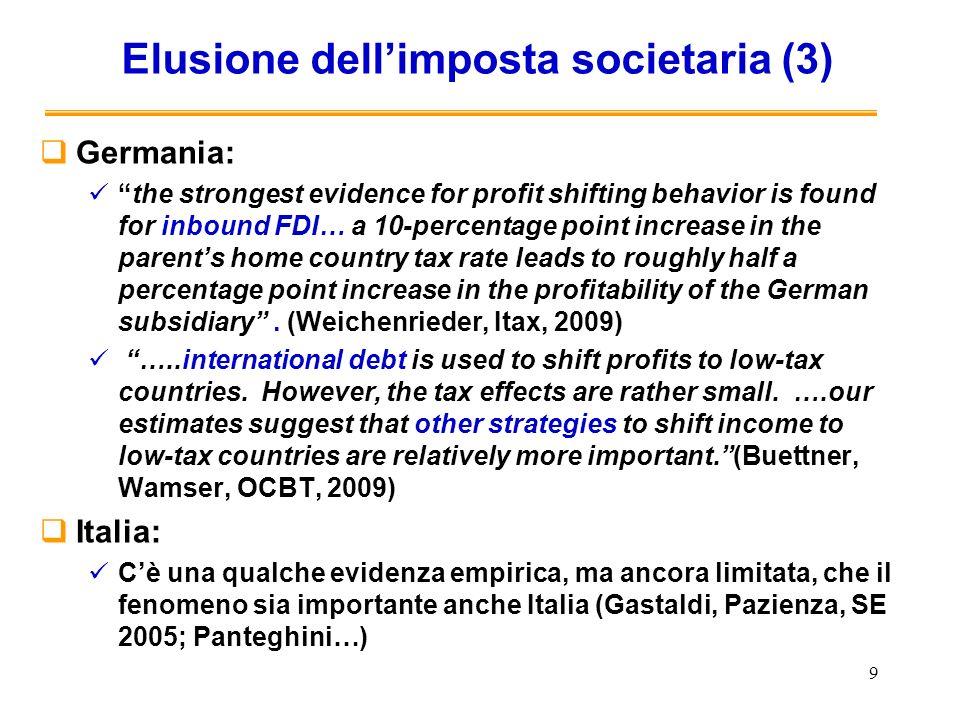 Misure del governo italiano per affrontare la concorrenza fiscale David Pitaro Rome, 9 October 2009