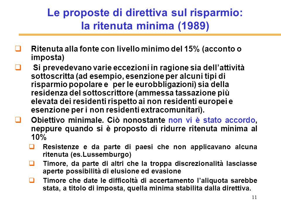 11 Le proposte di direttiva sul risparmio: la ritenuta minima (1989) Ritenuta alla fonte con livello minimo del 15% (acconto o imposta) Si prevedevano varie eccezioni in ragione sia dellattività sottoscritta (ad esempio, esenzione per alcuni tipi di risparmio popolare e per le eurobbligazioni) sia della residenza del sottoscrittore (ammessa tassazione più elevata dei residenti rispetto ai non residenti europei e esenzione per i non residenti extracomunitari).