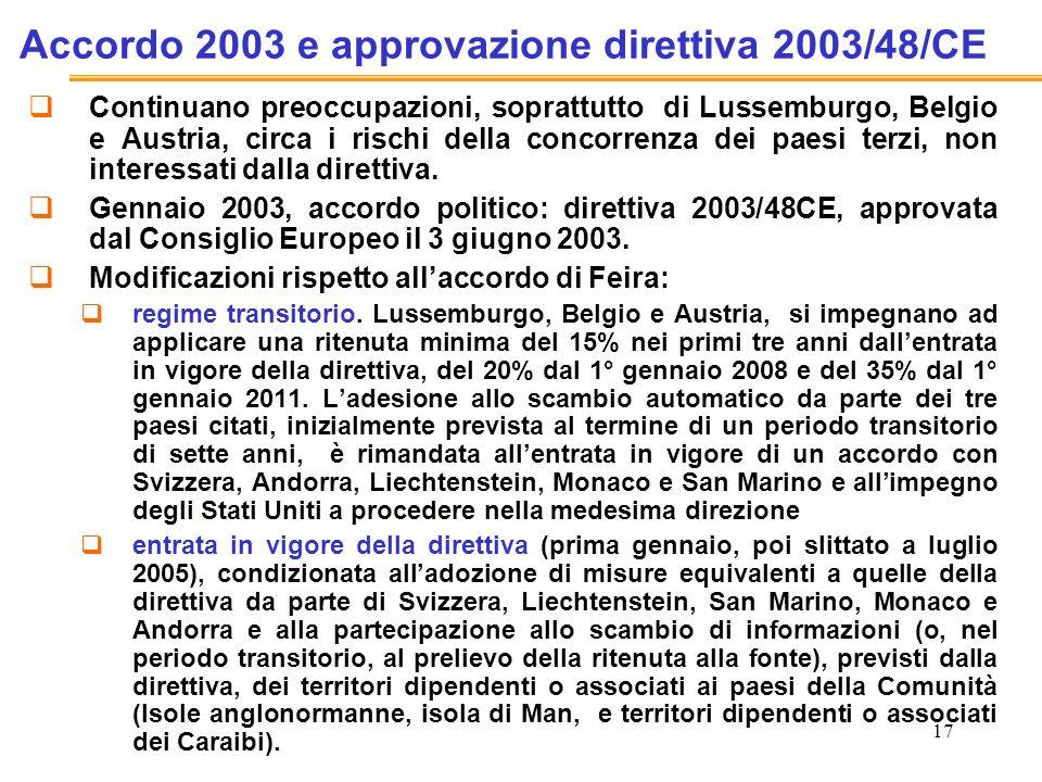 17 Accordo 2003 e approvazione direttiva 2003/48/CE Continuano preoccupazioni, soprattutto di Lussemburgo, Belgio e Austria, circa i rischi della concorrenza dei paesi terzi, non interessati dalla direttiva.