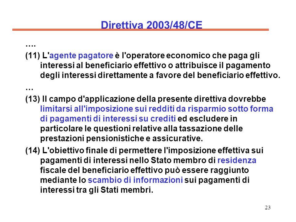 23 Direttiva 2003/48/CE ….