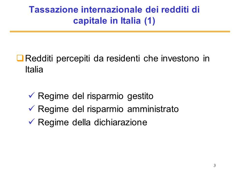 4 Tassazione internazionale dei redditi di capitale in Italia (2) Redditi percepiti da NON residenti che investono in Italia Interessi e plusvalenze (assoggettati a imposta sostitutiva in Italia del 12,5%): per lo più esenti se i percettori risiedono in paesi che prevedono un adeguato scambio di informazioni (inclusi nella WL) Dividendi ritenuta del 27% con possibilità di rimborso fino ai 4/9 della ritenuta (da parte dellAF italiana) dellimposta che dimostrino di avere pagato in via definitiva allestero (se dividendi sono percepiti da società residenti in stato UE o SEE ritenuta del 1,375%)