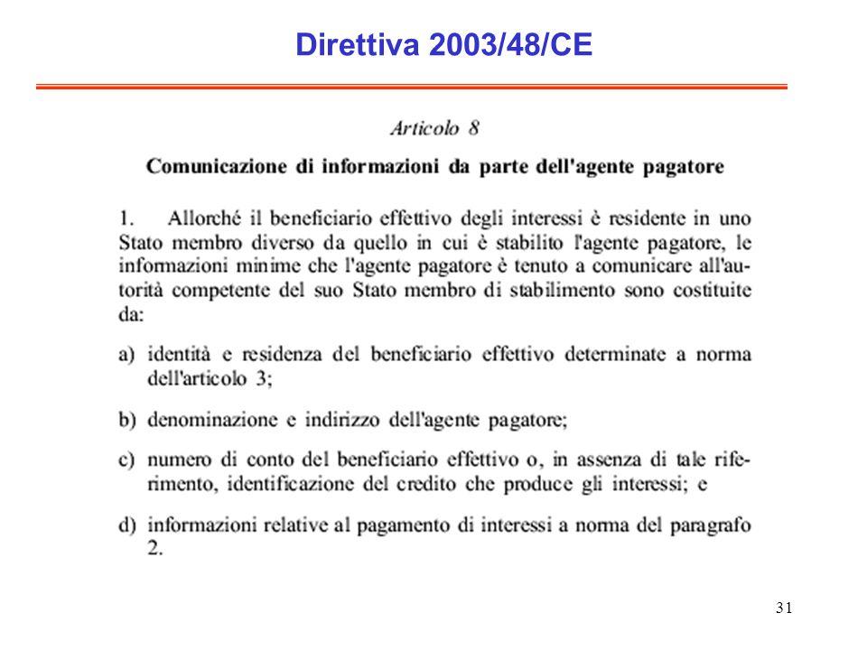 31 Direttiva 2003/48/CE