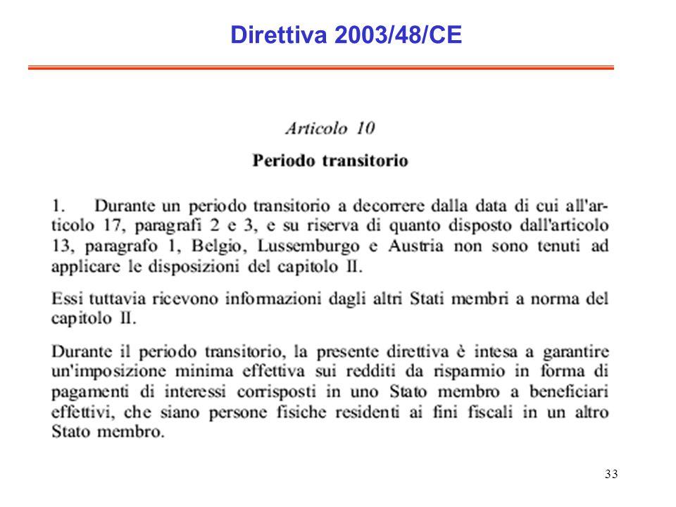 33 Direttiva 2003/48/CE