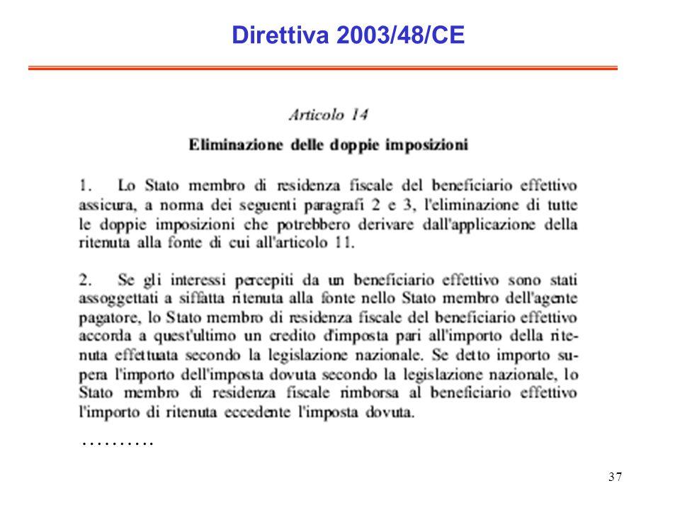 37 Direttiva 2003/48/CE ……….