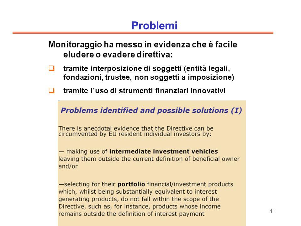 41 Problemi Monitoraggio ha messo in evidenza che è facile eludere o evadere direttiva: tramite interposizione di soggetti (entità legali, fondazioni, trustee, non soggetti a imposizione) tramite luso di strumenti finanziari innovativi