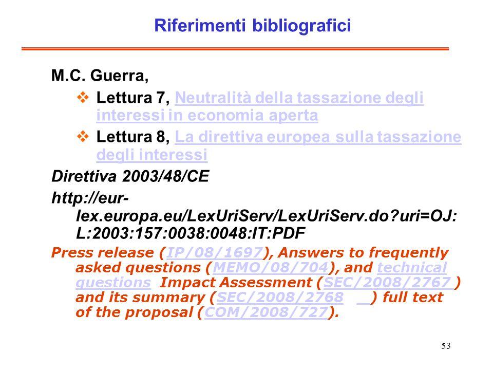 53 Riferimenti bibliografici M.C.