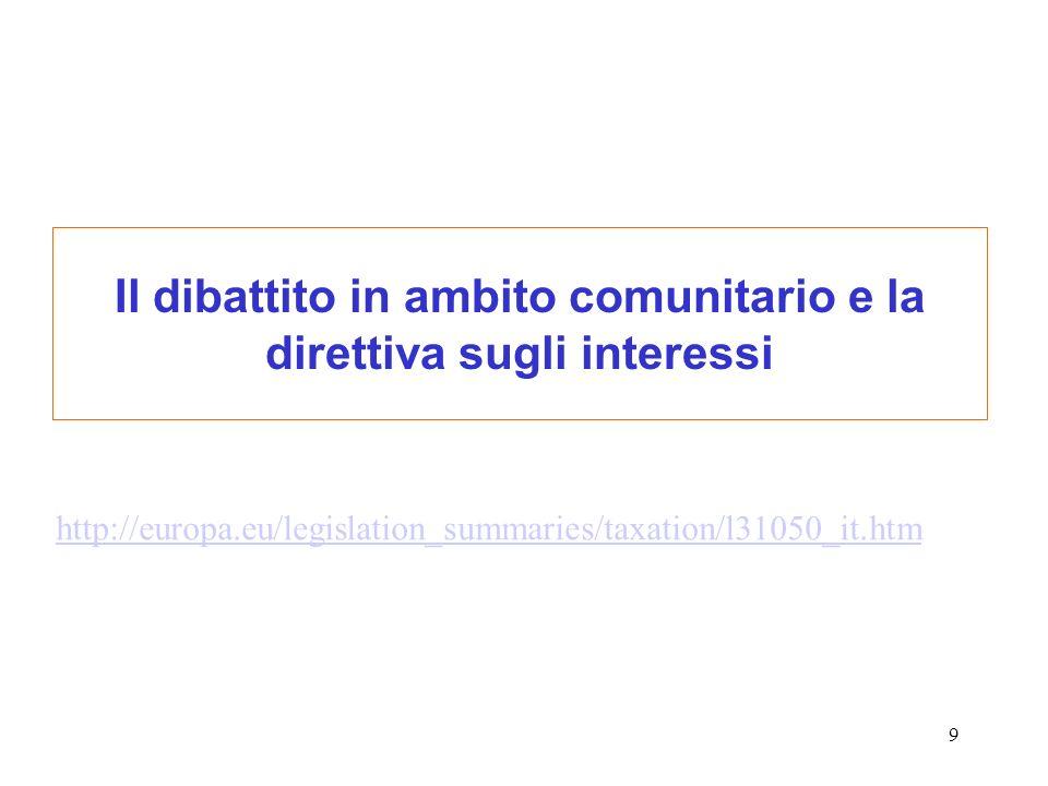 20 Direttiva 2003/48/CE Premessa ….