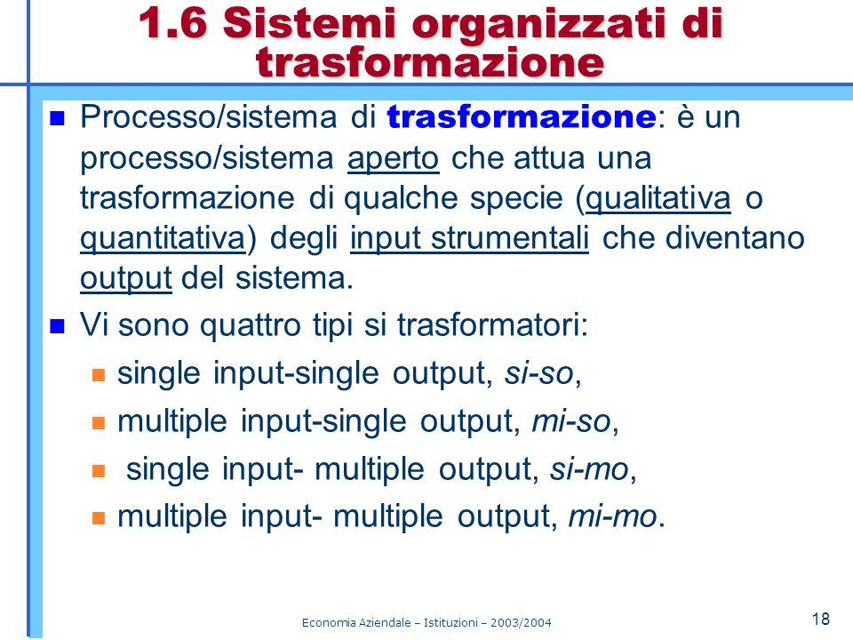 Economia Aziendale – Istituzioni – 2003/2004 19 Sono funzioni di trasformazione le regole che producono gli output, dati gli input e gli stati interni.