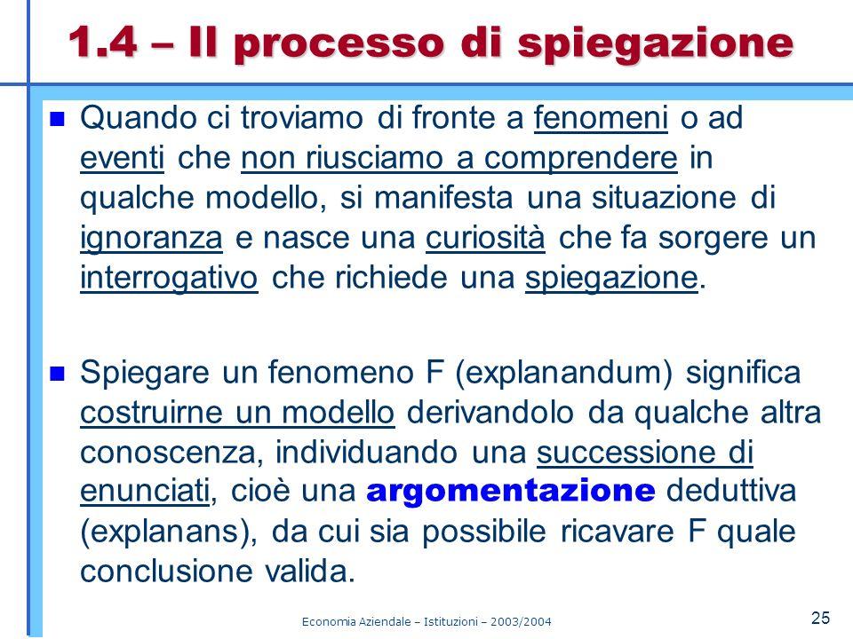 Economia Aziendale – Istituzioni – 2003/2004 26 Ogni explanandum richiede un explanans appropriato.