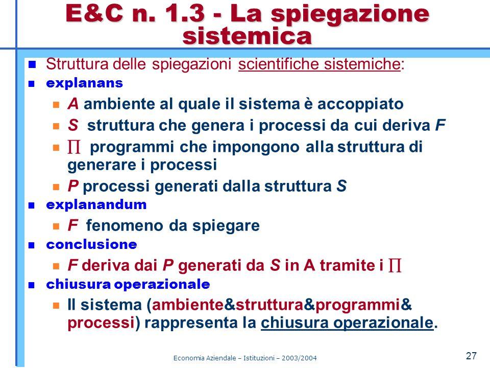 Economia Aziendale – Istituzioni – 2003/2004 28 Un organizzazione è un sistema sociale che si forma quando più individui, per loro motivazioni particolari, accettano di attuare comportamenti specializzati (organi), coordinati e cooperativi, per svolgere un processo durevole per un fine comune.