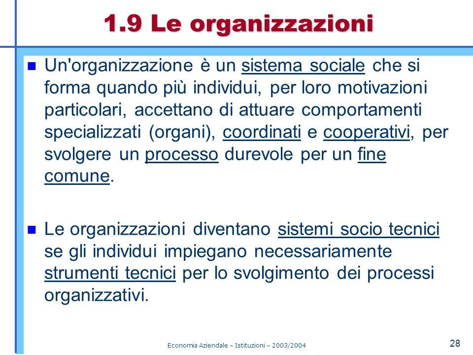 Economia Aziendale – Istituzioni – 2003/2004 29 Le organizzazioni devono sviluppare tre specie di processi (Fig.