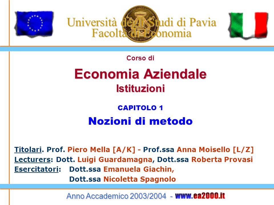 Economia Aziendale – Istituzioni – 2003/2004 6 1.1 Oggetto dellEconomia Az.