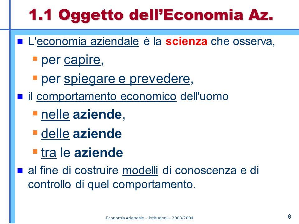Economia Aziendale – Istituzioni – 2003/2004 7 La nostra parola dordine Tanto le leggi – quanto le semplici descrizioni – elaborate dallEconomia Aziendale devono essere coerenti con la realtà osservata.