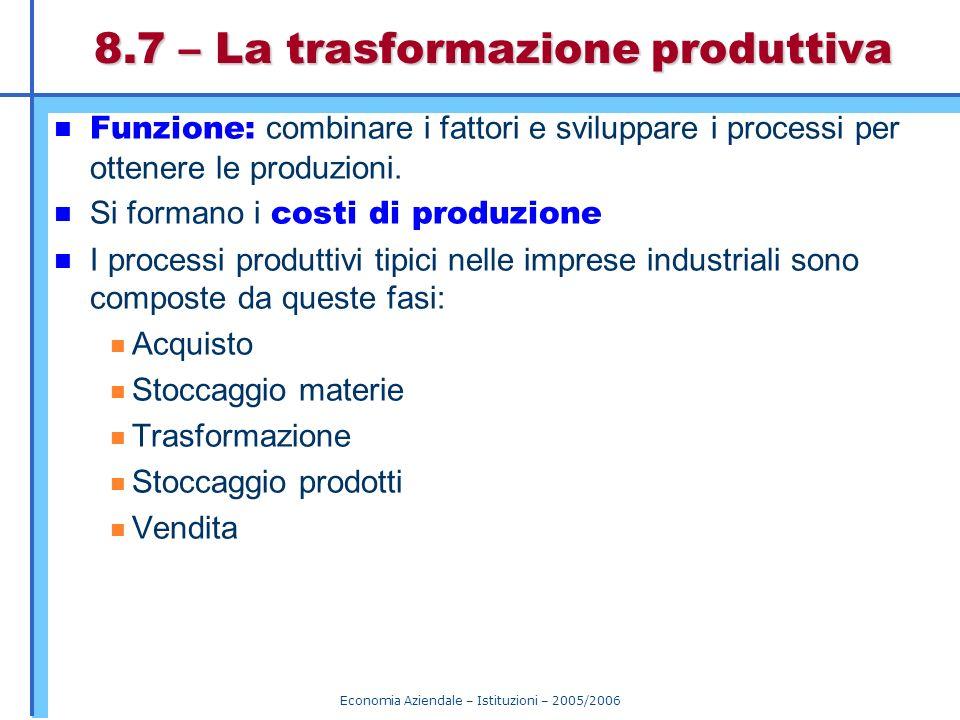 Economia Aziendale – Istituzioni – 2005/2006 8.7 – La trasformazione produttiva Funzione: combinare i fattori e sviluppare i processi per ottenere le