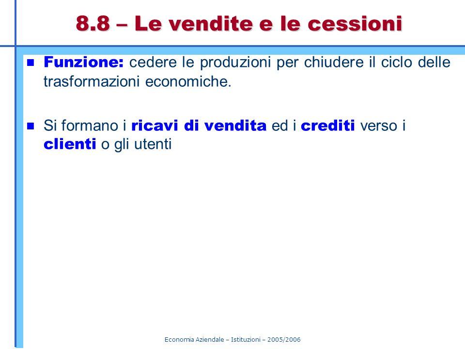 Economia Aziendale – Istituzioni – 2005/2006 8.8 – Le vendite e le cessioni Funzione: cedere le produzioni per chiudere il ciclo delle trasformazioni