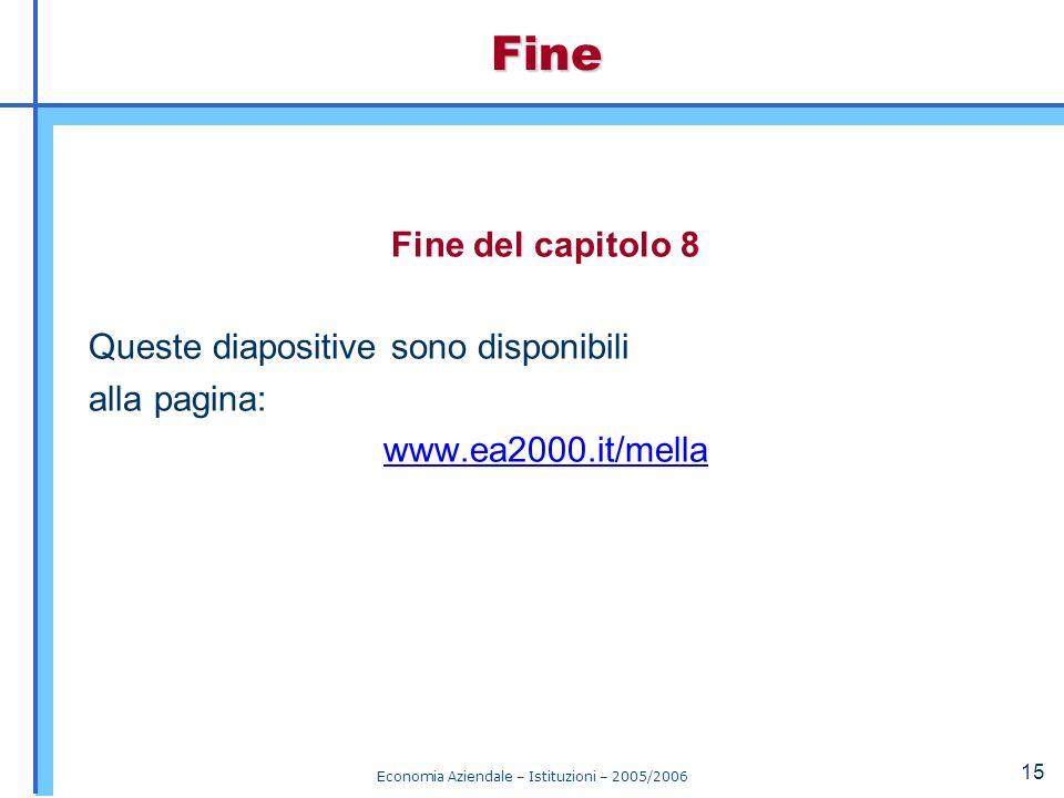 Economia Aziendale – Istituzioni – 2005/2006 15 Fine del capitolo 8 Queste diapositive sono disponibili alla pagina: www.ea2000.it/mellaFine