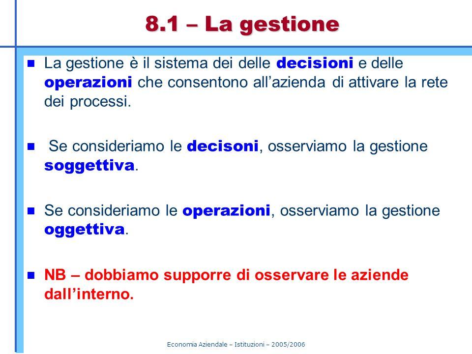Economia Aziendale – Istituzioni – 2005/2006 8.1 – La gestione La gestione è il sistema dei delle decisioni e delle operazioni che consentono allazien