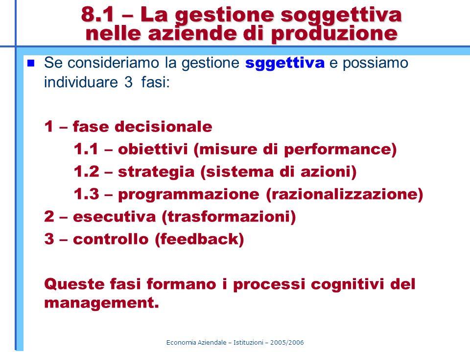 Economia Aziendale – Istituzioni – 2005/2006 8.1 – La gestione soggettiva nelle aziende di produzione Se consideriamo la gestione sggettiva e possiamo