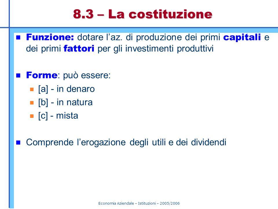 Economia Aziendale – Istituzioni – 2005/2006 8.3 – La costituzione Funzione: dotare laz. di produzione dei primi capitali e dei primi fattori per gli