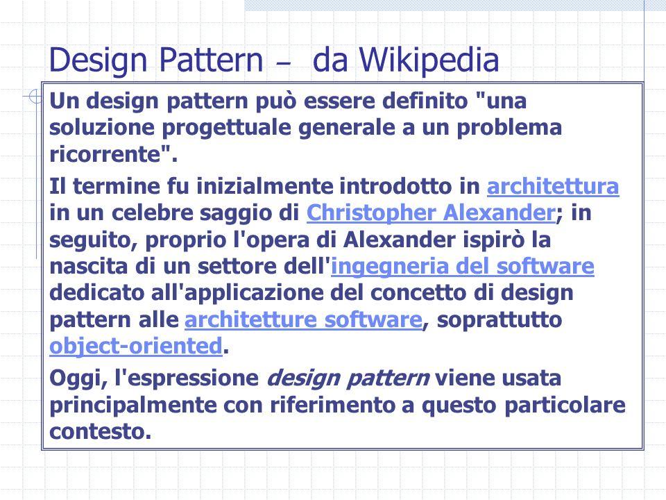 Design Pattern – da Wikipedia Un design pattern può essere definito