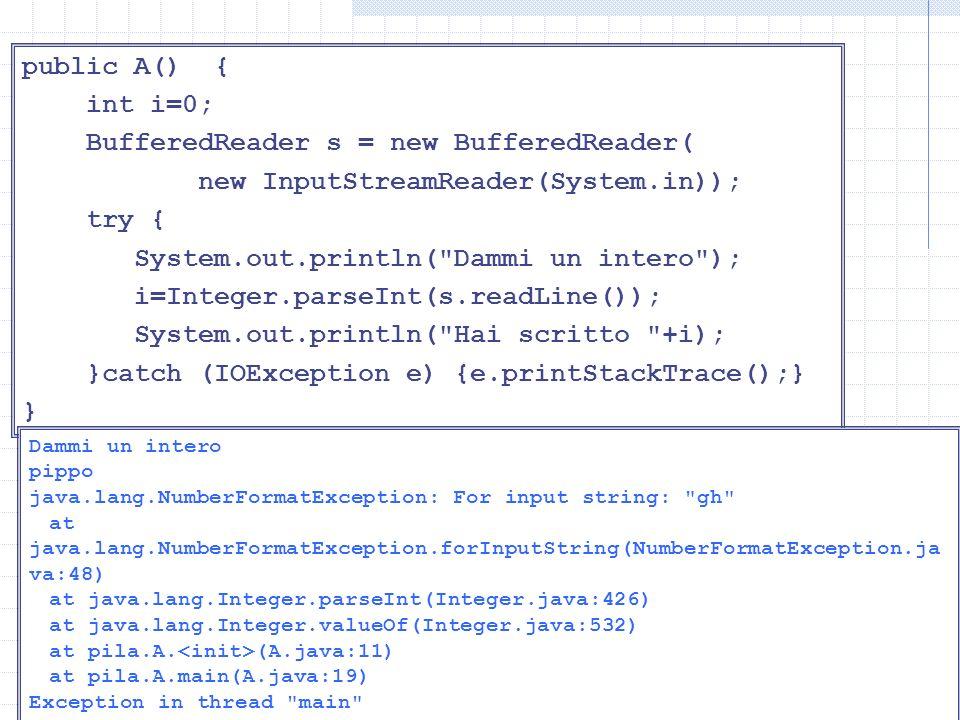 Lettura di int public A() { int i=0; BufferedReader s = new BufferedReader( new InputStreamReader(System.in)); try { System.out.println( Dammi un intero ); i=Integer.parseInt(s.readLine()); System.out.println( Hai scritto +i); }catch (IOException e) {e.printStackTrace();} } Dammi un intero pippo java.lang.NumberFormatException: For input string: gh at java.lang.NumberFormatException.forInputString(NumberFormatException.ja va:48) at java.lang.Integer.parseInt(Integer.java:426) at java.lang.Integer.valueOf(Integer.java:532) at pila.A.