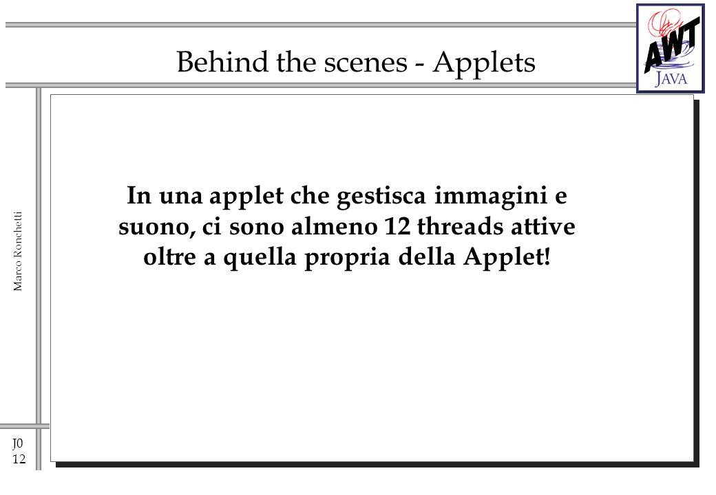 J0 12 Marco Ronchetti Behind the scenes - Applets In una applet che gestisca immagini e suono, ci sono almeno 12 threads attive oltre a quella propria della Applet!