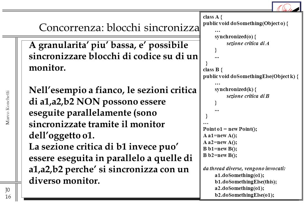 J0 16 Marco Ronchetti Concorrenza: blocchi sincronizzati A granularita piu bassa, e possibile sincronizzare blocchi di codice su di un monitor. Nelles