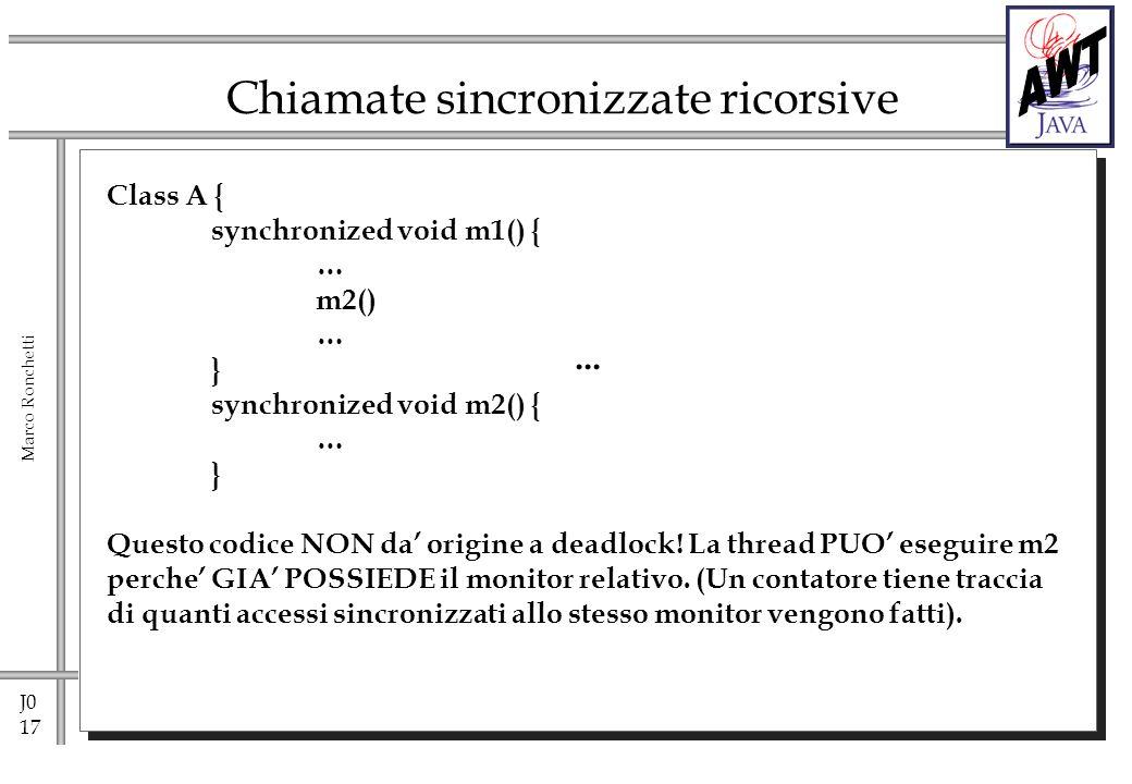J0 17 Marco Ronchetti Chiamate sincronizzate ricorsive... Class A { synchronized void m1() { … m2() … } synchronized void m2() { … } Questo codice NON