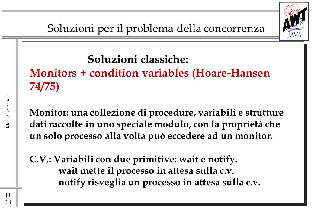 J0 18 Marco Ronchetti Soluzioni per il problema della concorrenza Soluzioni classiche: Monitors + condition variables (Hoare-Hansen 74/75) Monitor: una collezione di procedure, variabili e strutture dati raccolte in uno speciale modulo, con la proprietà che un solo processo alla volta può eccedere ad un monitor.