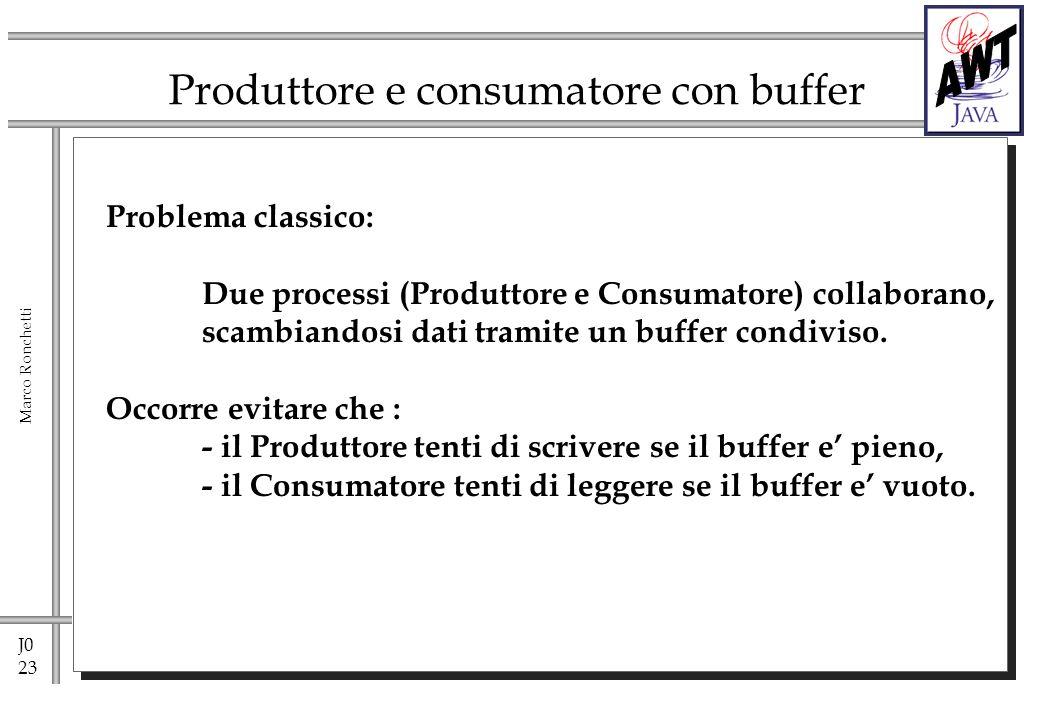 J0 23 Marco Ronchetti Produttore e consumatore con buffer Problema classico: Due processi (Produttore e Consumatore) collaborano, scambiandosi dati tramite un buffer condiviso.