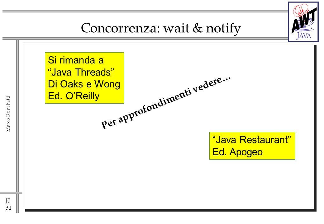 J0 31 Marco Ronchetti Concorrenza: wait & notify Per approfondimenti vedere… Si rimanda a Java Threads Di Oaks e Wong Ed. OReilly Java Restaurant Ed.