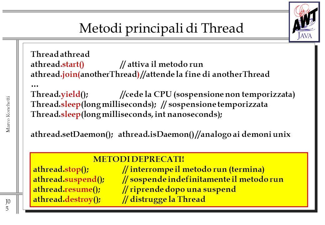J0 6 Marco Ronchetti Daemon Threads Ci sono due tipi di threads: user threads e daemon threads.