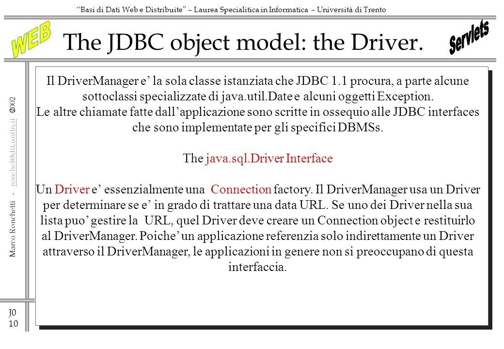 J0 10 Marco Ronchetti - ronchet@dit.unitn.it ronchet@dit.unitn.it Basi di Dati Web e Distribuite – Laurea Specialitica in Informatica – Università di Trento The JDBC object model: the Driver.