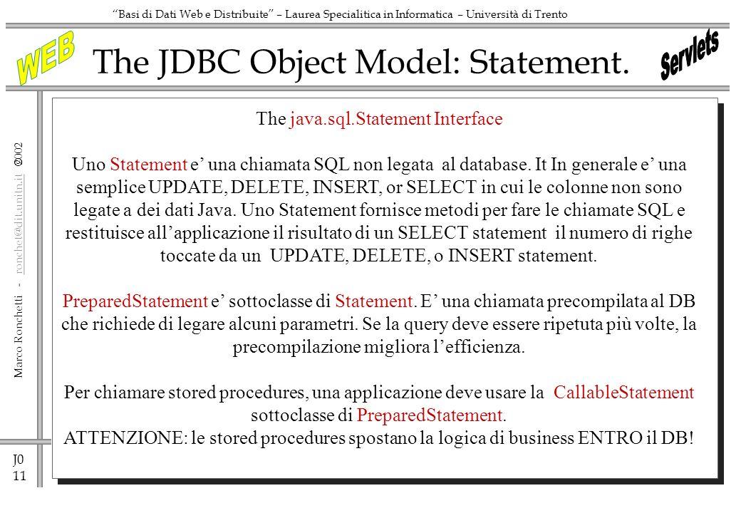 J0 11 Marco Ronchetti - ronchet@dit.unitn.it ronchet@dit.unitn.it Basi di Dati Web e Distribuite – Laurea Specialitica in Informatica – Università di Trento The JDBC Object Model: Statement.