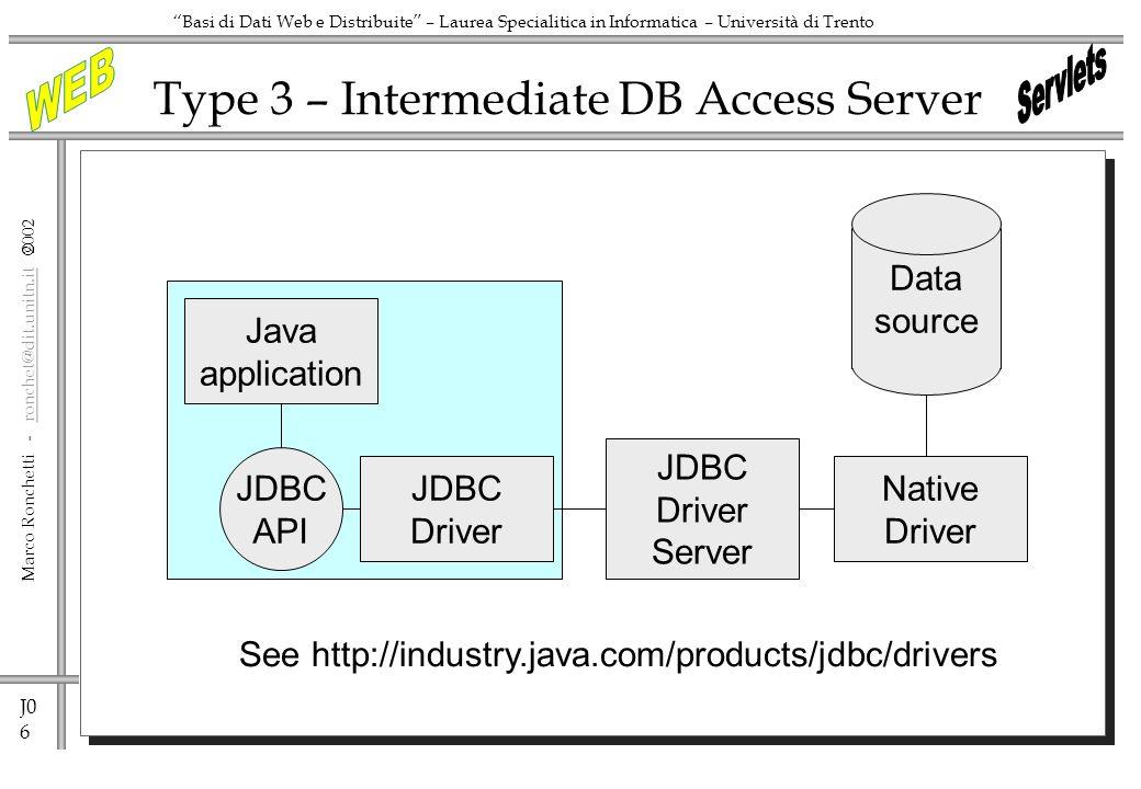 J0 7 Marco Ronchetti - ronchet@dit.unitn.it ronchet@dit.unitn.it Basi di Dati Web e Distribuite – Laurea Specialitica in Informatica – Università di Trento Type 4 – Pure Java Java application JDBC API JDBC Driver Data source
