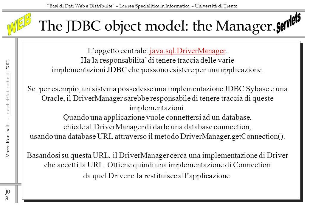 J0 19 Marco Ronchetti - ronchet@dit.unitn.it ronchet@dit.unitn.it Basi di Dati Web e Distribuite – Laurea Specialitica in Informatica – Università di Trento Applet per effettuare interrogazioni -2 // create size Choice object // add to layout with Label // create Choice object sizeChoice // add sizes to Choice object sizeChoice = new Choice(); search_area.add(sizeChoice); stringSelect = Select Distinct retail_item.color + from retail_item ; colorChoice.addItem( ); rs = processRequest(stringSelect); try { while (rs.next()) { String color=rs.getString(1); System.out.println(color); colorChoice.addItem(color); } } catch (Exception e) {} sizeChoice.addItem( ); stringSelect = Select Distinct size + from retail_item ; rs = processRequest(stringSelect); try { while (rs.next()) { String size=rs.getString(1); System.out.println(size); sizeChoice.addItem(size); } } catch (Exception e) {} search_area.add(new Label( Size: )); search_area.add(new Label( )); searchButton = new Button( Search ); searchButton.addActionListener(this); search_area.add(searchButton); }