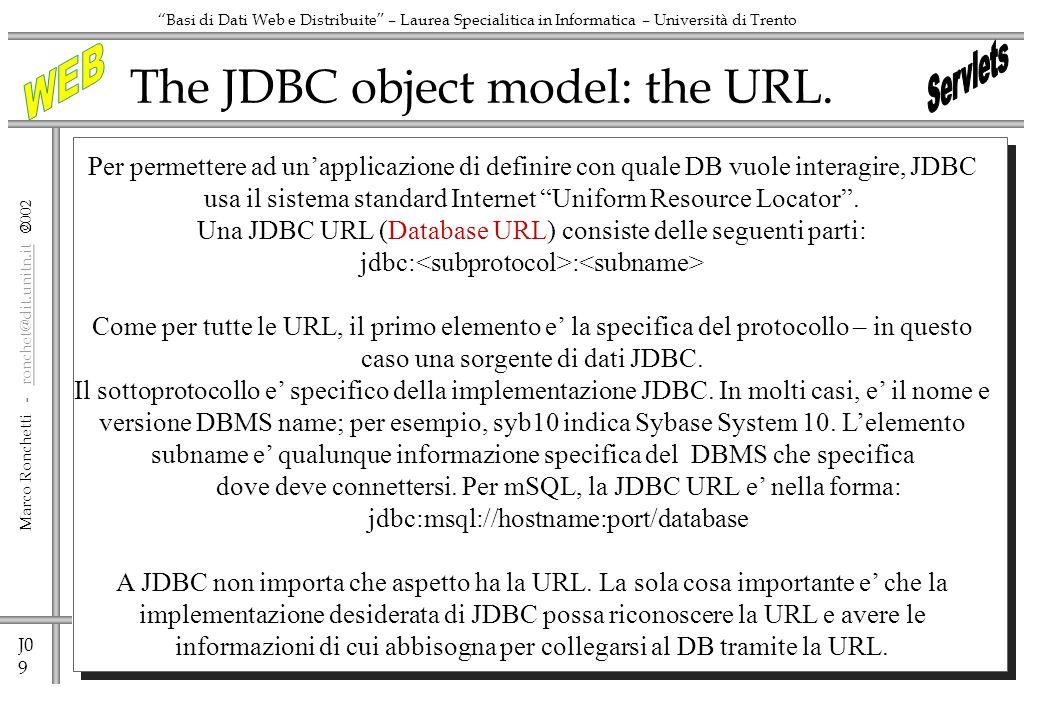 J0 9 Marco Ronchetti - ronchet@dit.unitn.it ronchet@dit.unitn.it Basi di Dati Web e Distribuite – Laurea Specialitica in Informatica – Università di Trento The JDBC object model: the URL.