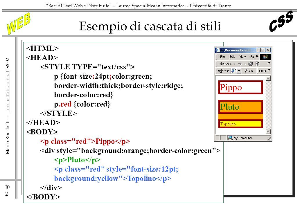 J0 2 Marco Ronchetti - ronchet@dit.unitn.it ronchet@dit.unitn.it Basi di Dati Web e Distribuite – Laurea Specialitica in Informatica – Università di T