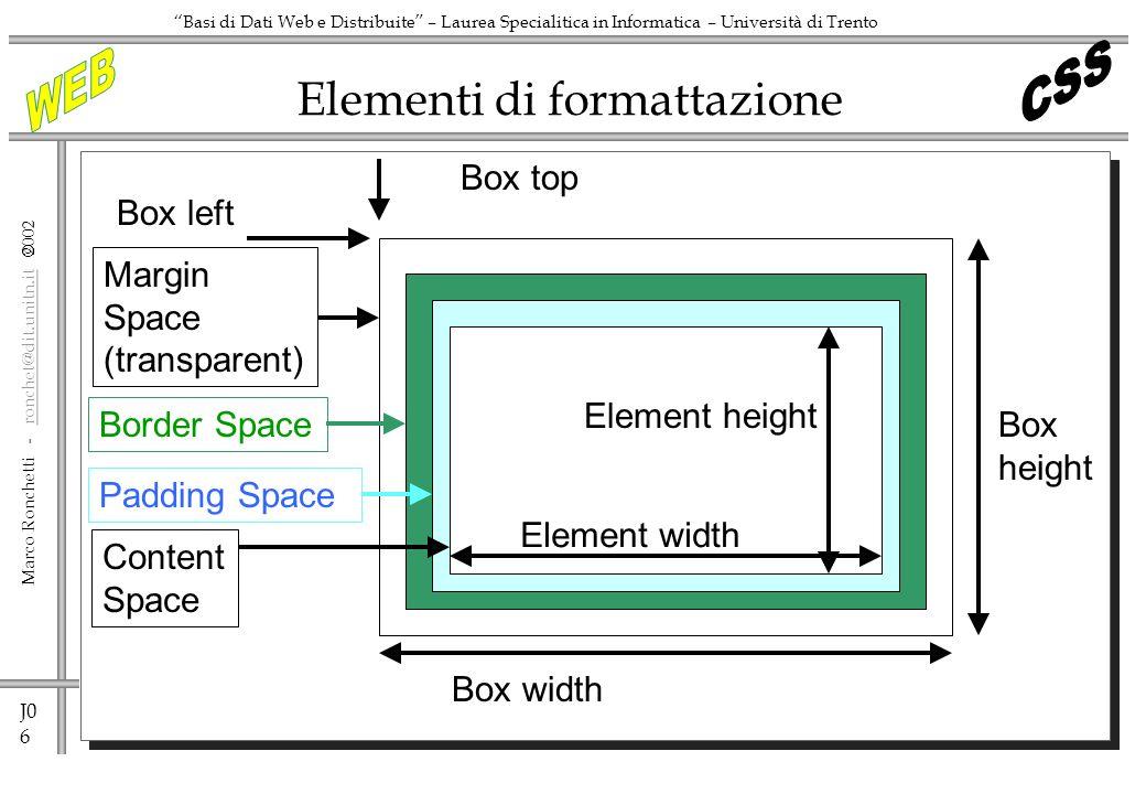 J0 6 Marco Ronchetti - ronchet@dit.unitn.it ronchet@dit.unitn.it Basi di Dati Web e Distribuite – Laurea Specialitica in Informatica – Università di T