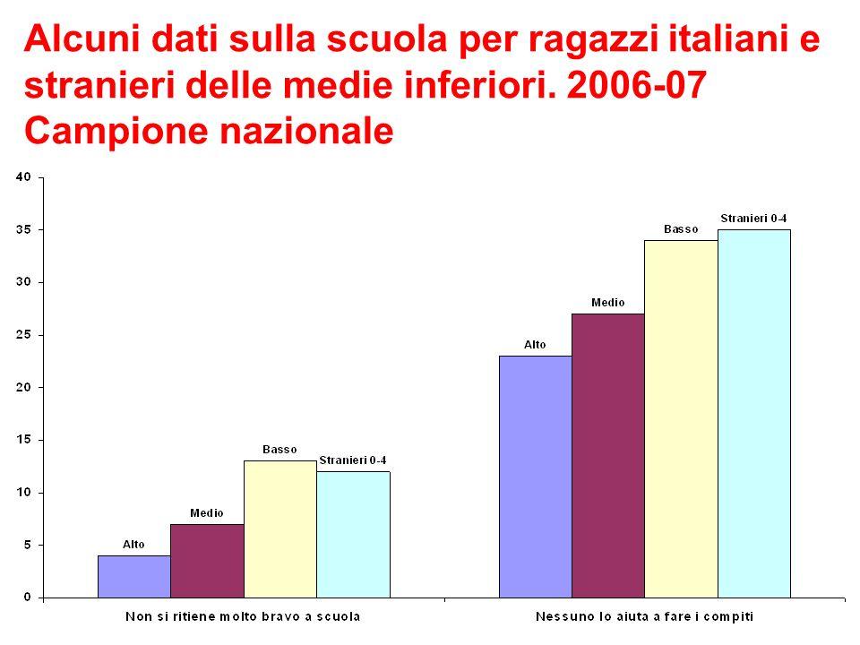 Alcuni dati sulla scuola per ragazzi italiani e stranieri delle medie inferiori.
