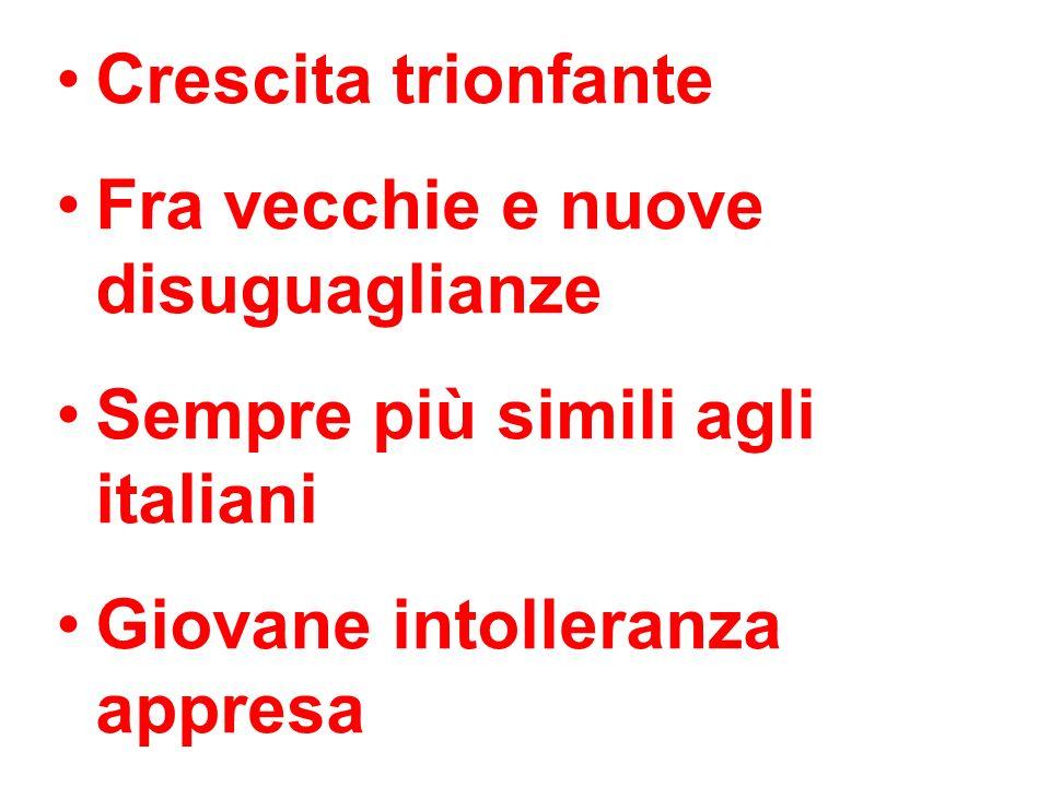 Crescita trionfante Fra vecchie e nuove disuguaglianze Sempre più simili agli italiani Giovane intolleranza appresa