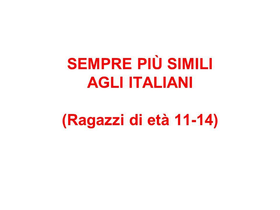 SEMPRE PIÙ SIMILI AGLI ITALIANI (Ragazzi di età 11-14)