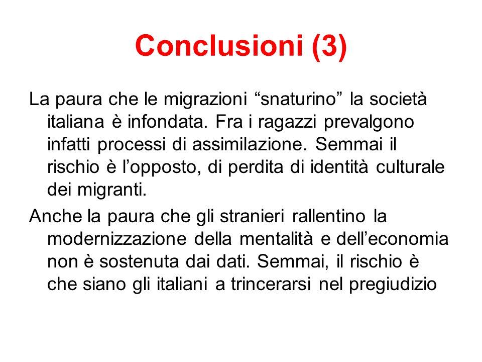 Conclusioni (3) La paura che le migrazioni snaturino la società italiana è infondata.