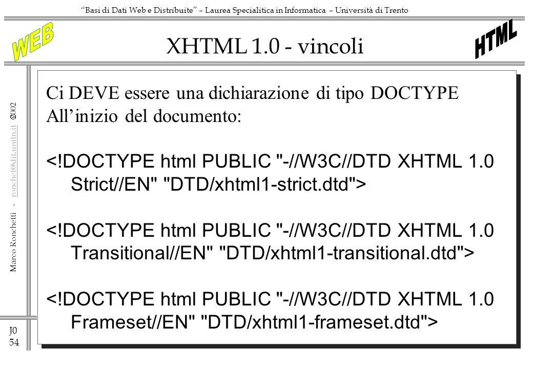 J0 54 Marco Ronchetti - ronchet@dit.unitn.it ronchet@dit.unitn.it Basi di Dati Web e Distribuite – Laurea Specialitica in Informatica – Università di Trento XHTML 1.0 - vincoli Ci DEVE essere una dichiarazione di tipo DOCTYPE Allinizio del documento: