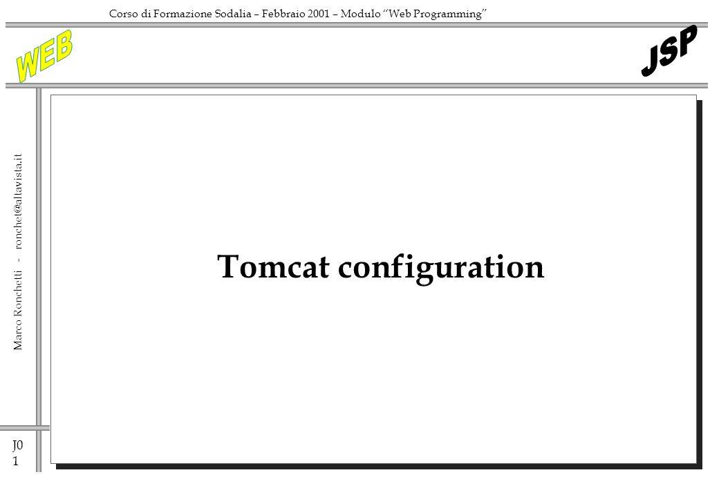 J0 1 Marco Ronchetti - ronchet@altavista.it Corso di Formazione Sodalia – Febbraio 2001 – Modulo Web Programming Tomcat configuration