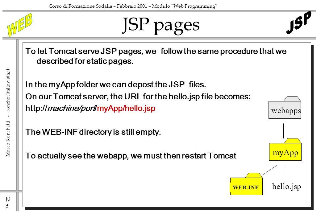 J0 4 Marco Ronchetti - ronchet@altavista.it Corso di Formazione Sodalia – Febbraio 2001 – Modulo Web Programming To let Tomcat serve servlet, we need add some info.
