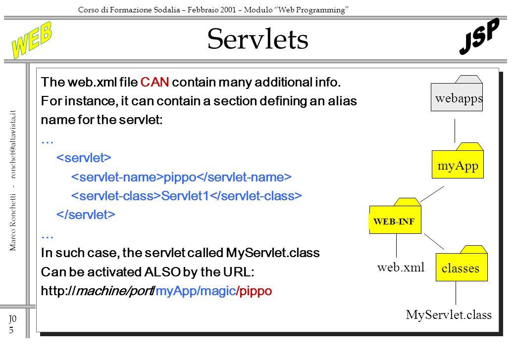J0 5 Marco Ronchetti - ronchet@altavista.it Corso di Formazione Sodalia – Febbraio 2001 – Modulo Web Programming The web.xml file CAN contain many additional info.