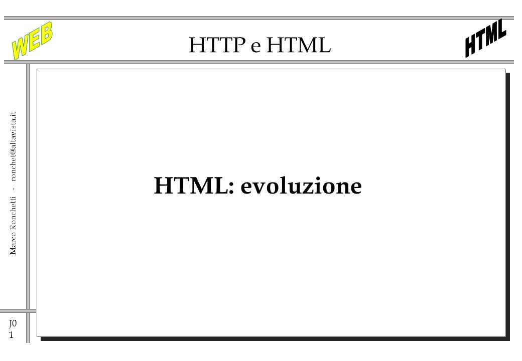 J0 52 Marco Ronchetti - ronchet@altavista.it DHTML Per DHTML (Dynamic HTML) si intende linsieme di: HTML 4.0 CSS – CSS/P(Cascading Style Sheet) DOM(Document Object Model) ECMA(JavaScript)