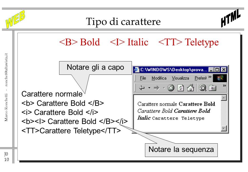 J0 10 Marco Ronchetti - ronchet@altavista.it Tipo di carattere Bold Italic Teletype Carattere normale Carattere Bold Carattere Teletype Notare la sequ