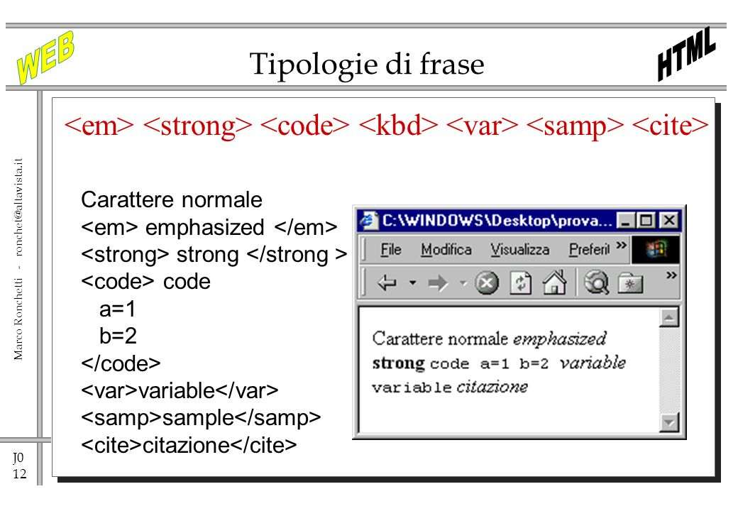J0 12 Marco Ronchetti - ronchet@altavista.it Tipologie di frase Carattere normale emphasized strong code a=1 b=2 variable sample citazione